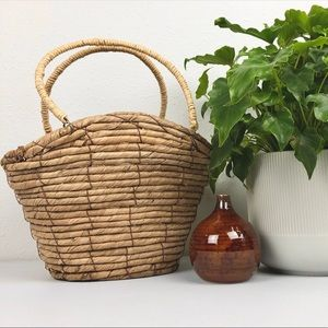 VINTAGE Structured Coil Wicker Purse Basket with H